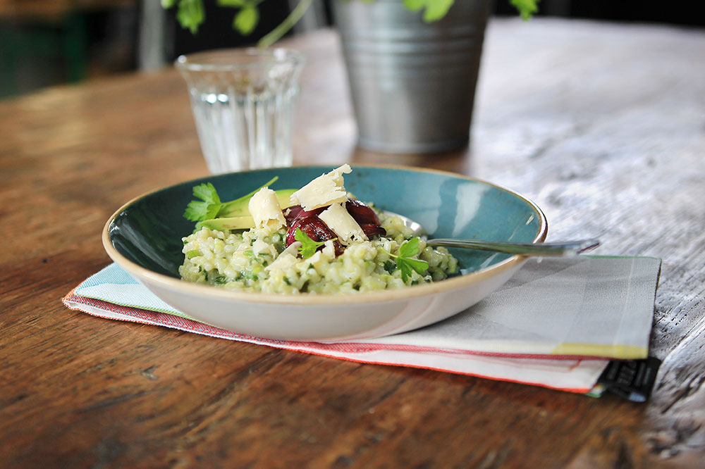 Fresh Spring Avocado Risotto with Lime and Braised Balsamico