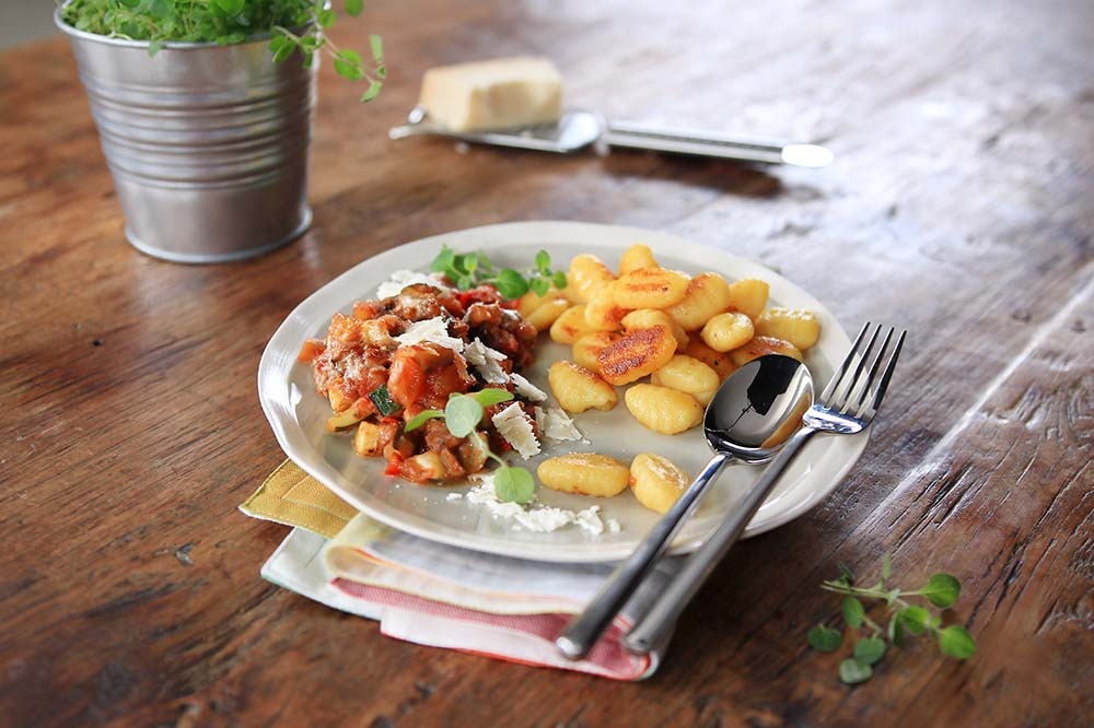 Gratinated Ratatouille with Fried Gnocchi