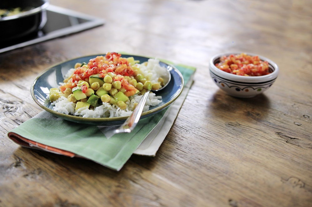 Zucchini and Chickpea Curry with Mango Chili Chutney and Basmati Rice
