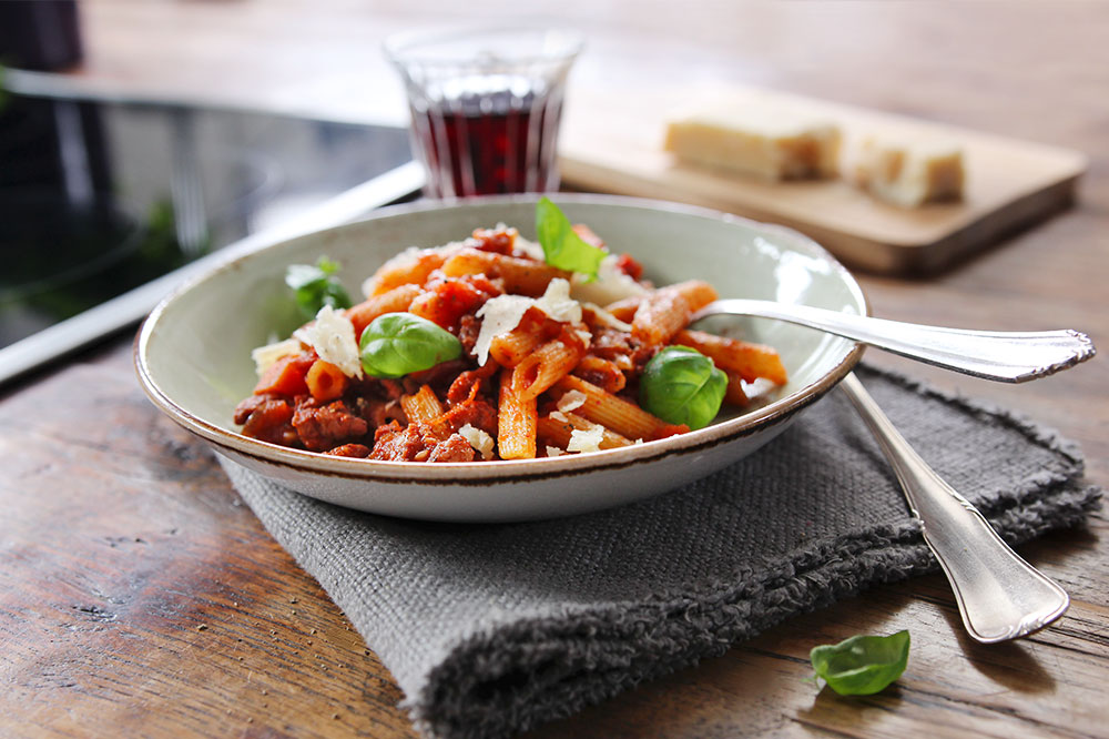Penne in a Salsiccia Bolognese Sauce