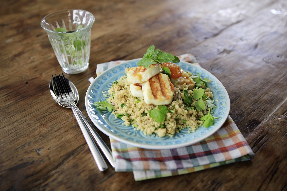 Summer Couscous Salad with Apricots and Halloumi Strips