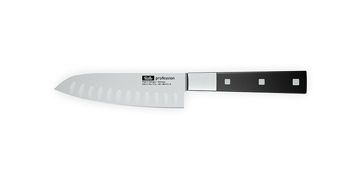 The santoku knife with a hollow edge prevents slices from sticking to the blade