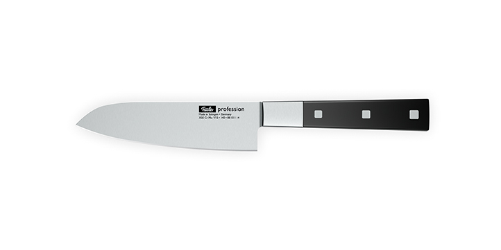 The santoku knife is ideal for fish, meat, and vegetables