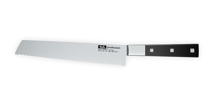 Bread knife with scalloped edge for cutting hard bread crusts
