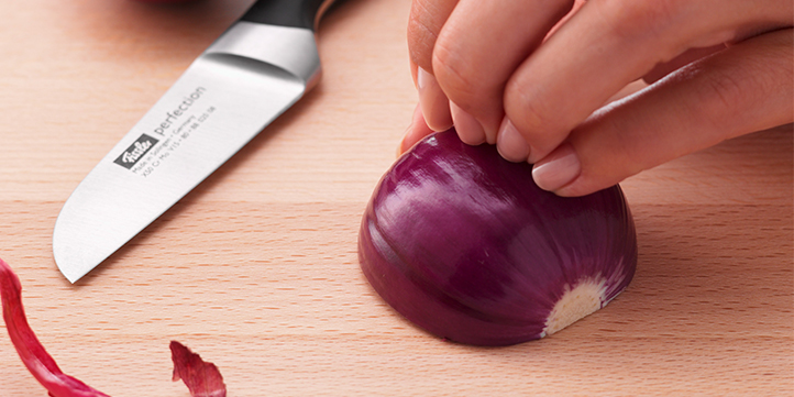 Remove peel and cut the onion in half